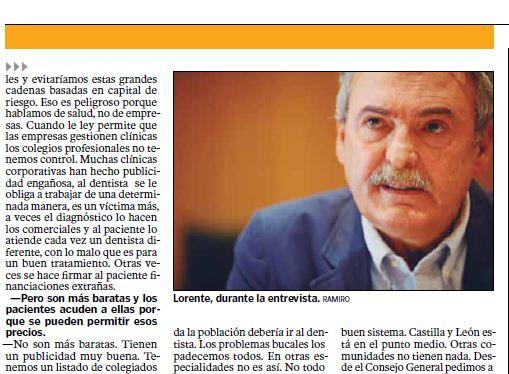 Diario de León: El presidente de COELeón habla sobre plétora profesional, mileurismo y sanidad pública